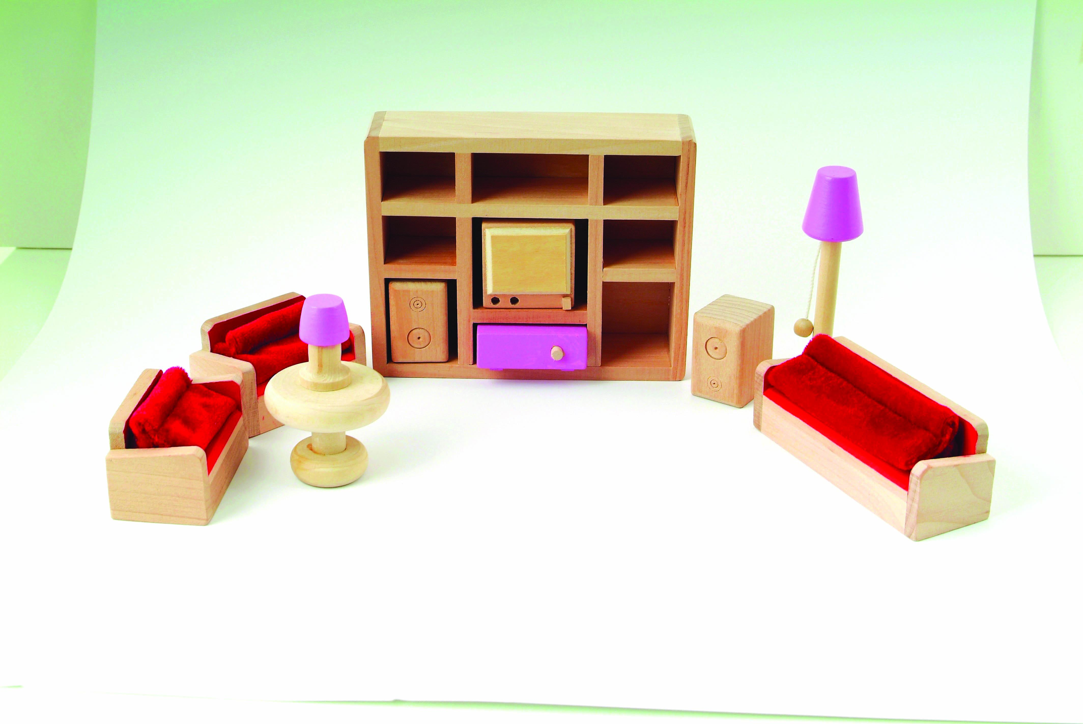 Le wooden toy dolls house with furniture Dolls wooden furniture